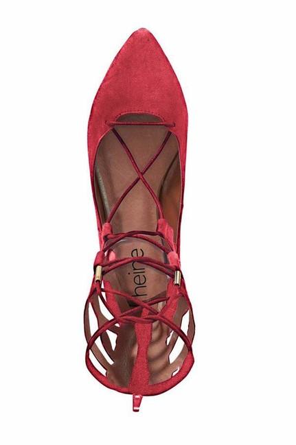 65a6a2370b012 Červené šnurovacie balerínky - Violettemoda.sk