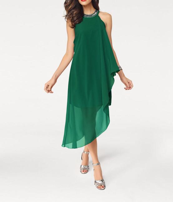 b85a9997d21f Šifónové smaragdové šaty Ashley Brooke - Violettemoda.sk