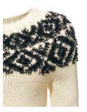 Pulover s nórskym vzorom, smotanovo-čierny