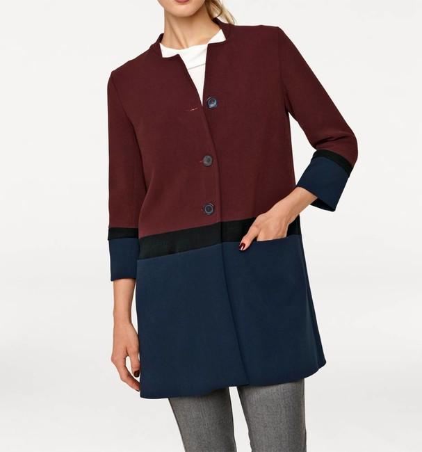 Basic dámsky kabát , bordovo-modrý