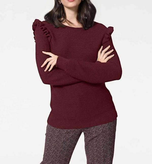 Hrubý sveter s volánmi, bordový