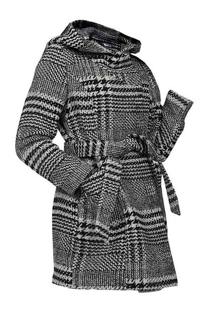 Krátky kabát s kapucňou Aniston, čierno-sivý