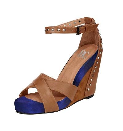 Dámske sandále HEINE - koňakovo–modrá - 38