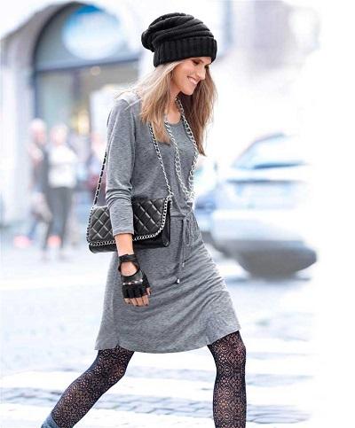 Dámske šaty Aniston - sivo–modrá - 36
