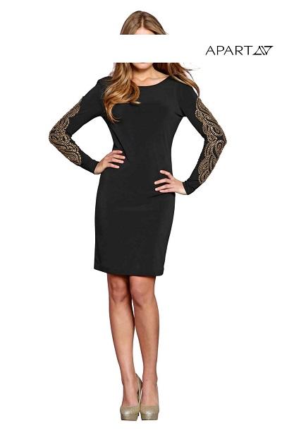 Dámske šaty APART - čierna s aplikáciou - 36