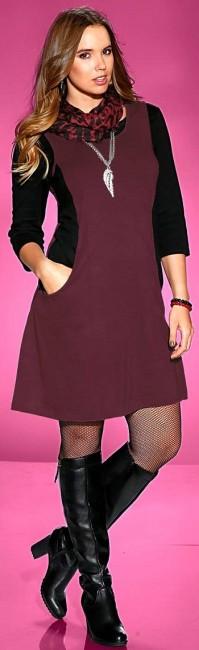 Dámske šaty Sheego - bordovo–čierna - 50