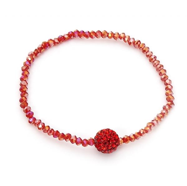 Korálkový náramok - červená