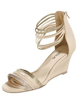 Béžové sandále na klinovom podpätku HEINE