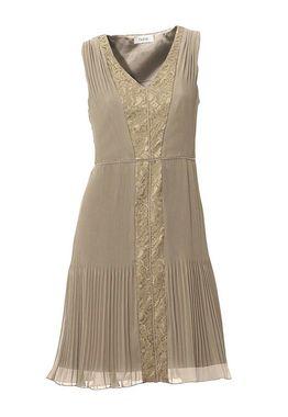 Béžové šaty s plisovanou sukňou HEINE