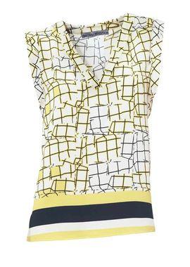 Blúzka s potlačou bielo-žltá