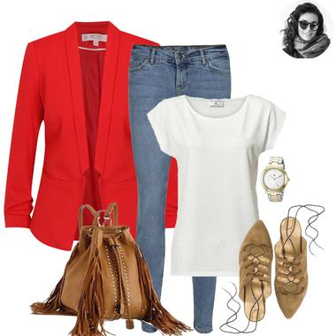 Červené sako a šnurovacie baleríny