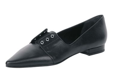 Čierne kožené balerínky