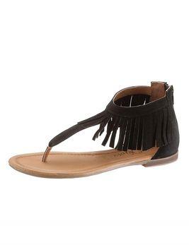 Čierne letné sandále so strapcami S. Oliver