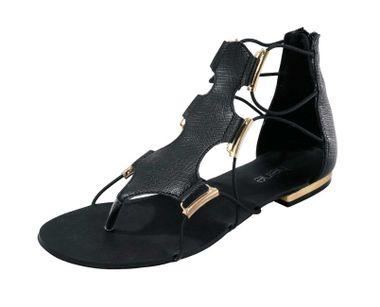 Čierne sandálky so zlatými detailami