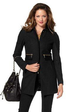 Čierny kabát so zlatými zipsami Melrose