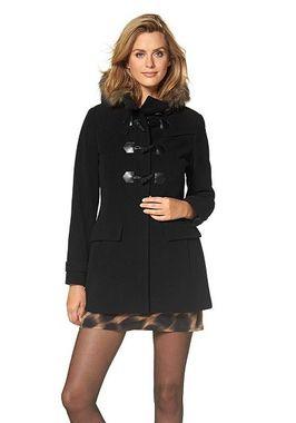 Čierny vlnený kabát s kapucňou Marc New York