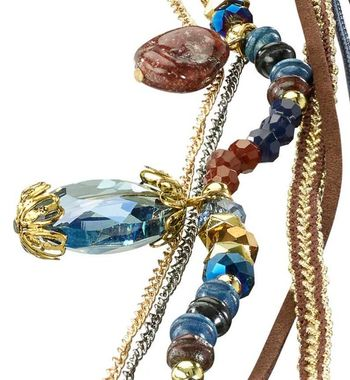 Dlhý náhrdelník modro-koňakový