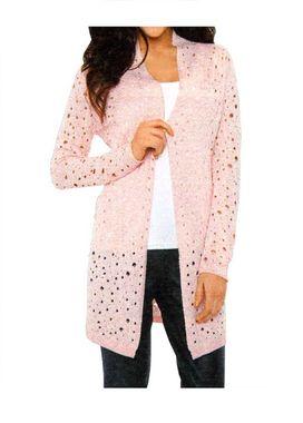 Dlhý ružový sveter s dierkovaným vzorom HEINE