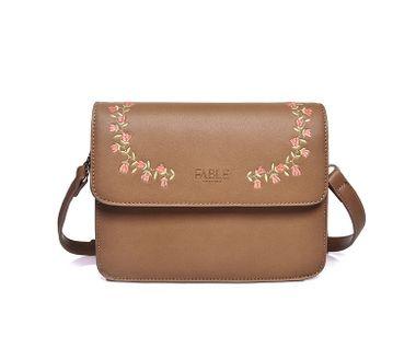 FABLE kabelka cez plece s vyšívanými ružami - svetlohnedá