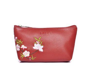 FABLE kozmetická taštička vyšívaná kvetmi - červená