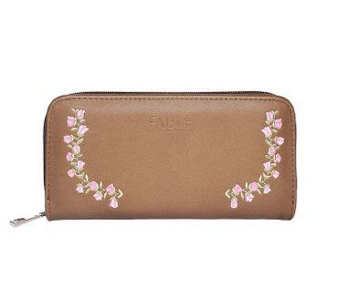 FABLE listová peňaženka s vyšívanými ružami - svetlohnedá