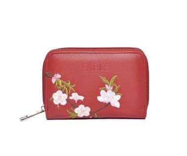 FABLE peňaženka s vyšívanými ružami - červená