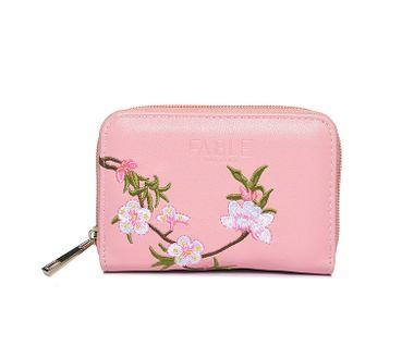 FABLE peňaženka vyšívaná s kvetmi - ružová
