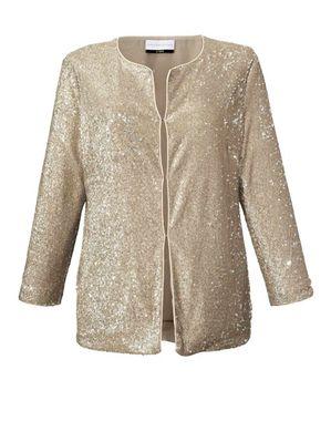 Flitrované extravagantné sako, zlatej farby