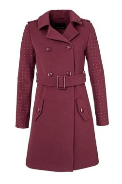 Kabát s ozdobnými nitmy - bordový, Melrose