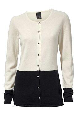 Kašmírový sveter, krémovo -čierny