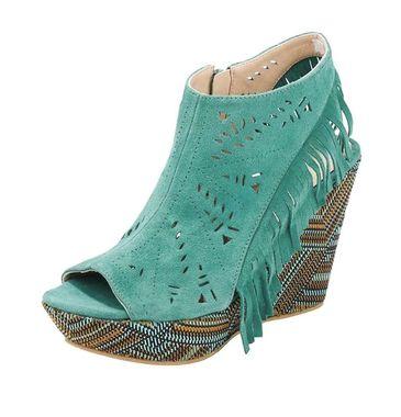 Kožené semišové sandále na platforme, tyrkysové