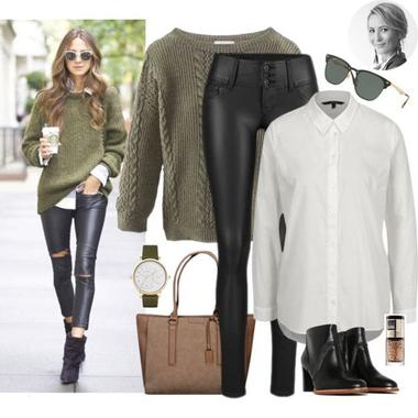 Koženkové nohavice a štýlový ľanový pulóver