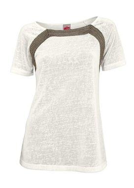 Krémové tričko s ozdobnou retiazkou Travel Couture