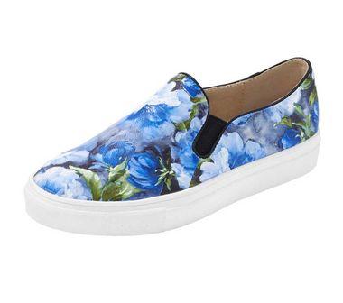 Kvetinové slippery Heine modré