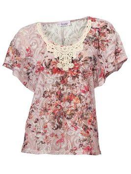 Kvetinové tričko s čipkou Linea Tesini