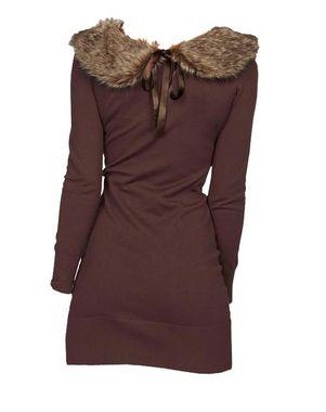 Melrose pletené šaty s. umelou kožušinou, hnedá