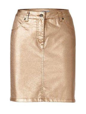 Metalická džínsová sukňa marhuľa