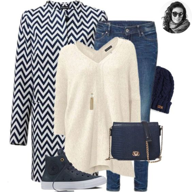 Modro-biely cik-cak kabát