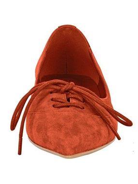 Oranžové kožené baleríny HEINE