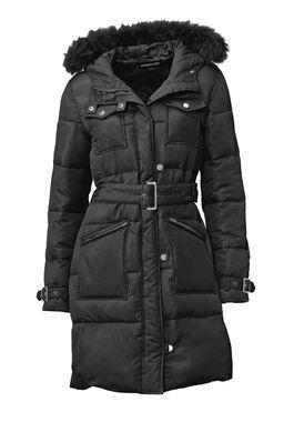 PATRIZIA DINI prešívaný kabát s kožušinovým golierom, čierny