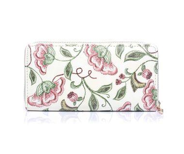 Peňaženka s kvetinovým vzorom - béžová