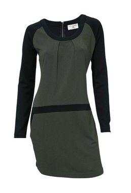 Pohodlné olivové šaty