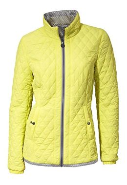 Prešívaná obojstranná bunda, žlto-striebornošedá