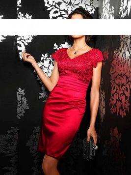 Príťažlivé červené kokteilové šaty Ashley Brooke event