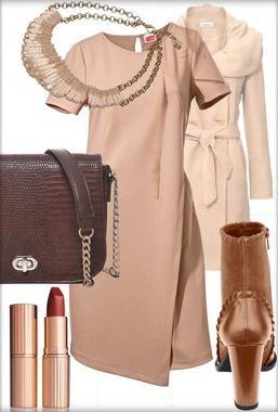 Púdrové šaty s béžovo-hnedým doladením