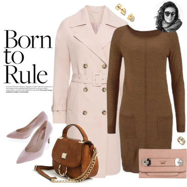 Ružový trenchcoat a hnedé šaty