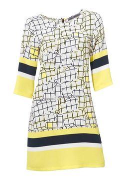Šaty s potlačou bielo-žlté