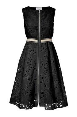 Šaty s vyšívanou čipkou čierne