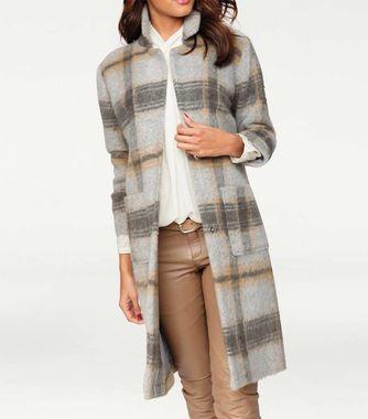 Šedo-béžový vlnený kabát PATRIZIA DINI