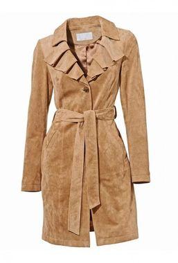 Semišový béžový kabát Ashley Brooke